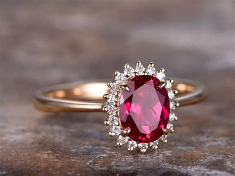 6x8mm oval cut lab treated ruby engagement ring gold plated 925 sterling silver retro