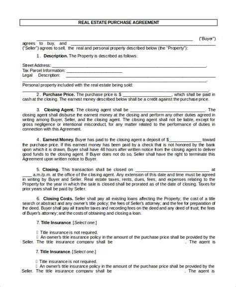 9+ Sample Real Estate Purchase Agreements  Sample Templates