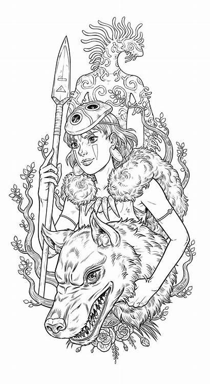 Princess Ghibli Mononoke Lineart Wolf Piece Recorded