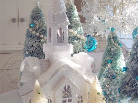 winter white christmas snow church glitter flocked glowing