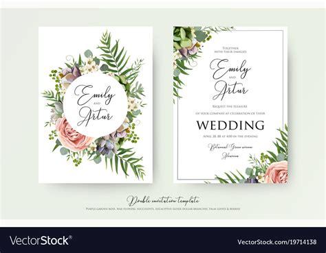 Elegant Floral Wedding Invitation Card Design Vector Image