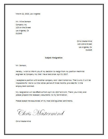 sample resignation letter template word tata