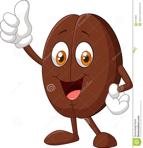 Stock Photo: Cartoon coffee bean giving thumbs up. Image: 53128690
