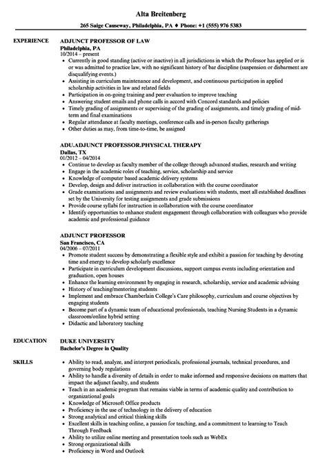 Professor Resume by Adjunct Professor Resume Mt Home Arts