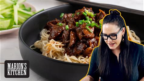 chinese sticky beef noodles marions kitchen youtube