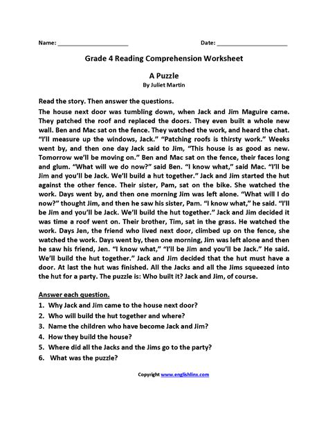 Reading And Comprehension Worksheets For Grade 5 Informationacquisitioncom
