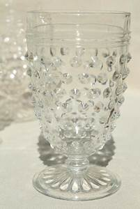 1930s Vintage Hobnail Glass Wine Glasses Footed Tumblers
