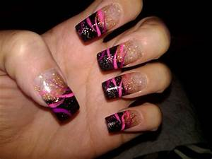 black tip with gold - Nail Art Gallery