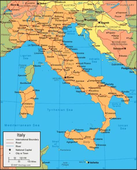physical map  italy  key holiday map
