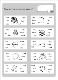 Weather Vocabulary For Kids Learning English  Printable Resources