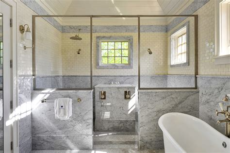 shower  marble wainscoting design ideas