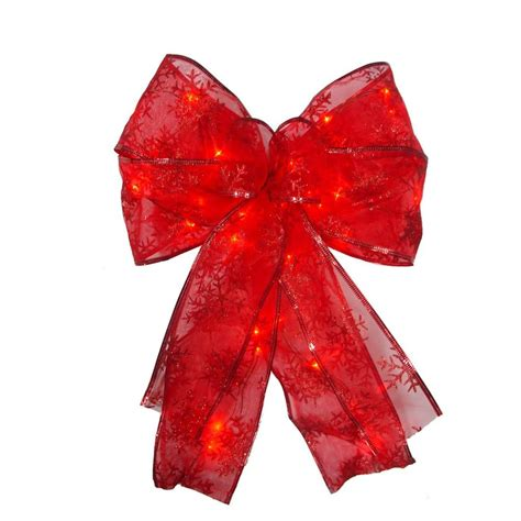 home accents holiday 9 in red led ribbon bow tree topper
