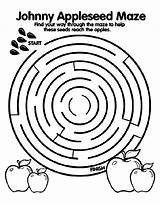 Maze Appleseed Johnny Coloring Pages Crayola sketch template