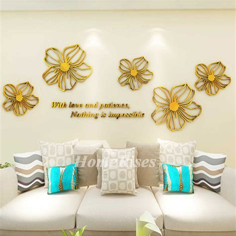Flower Wall Decals Purple/Yellow/White/Blue/Pink Acrylic