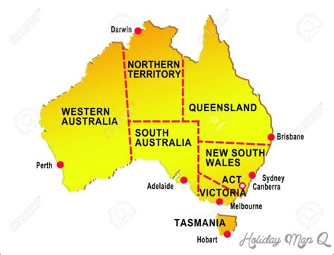 australia map  cities holidaymapqcom