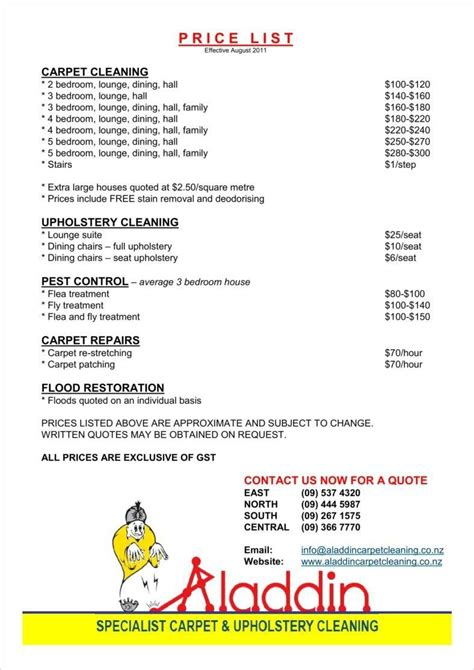 house cleaning rates 8 cleaning price list templates free word pdf excel