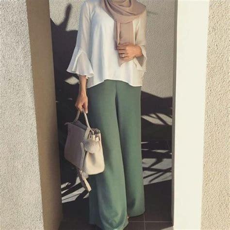 ruffle blouse  palazzo pants hijab modest summer fashion trends    follow