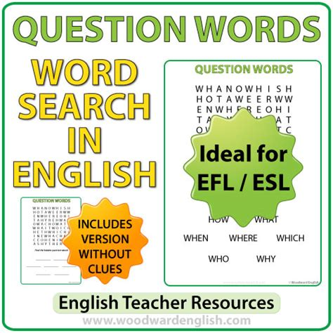 question words in esl word search