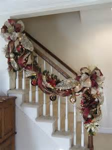 christmas garland swag lighted staircase by giftsbywhatabeautifu