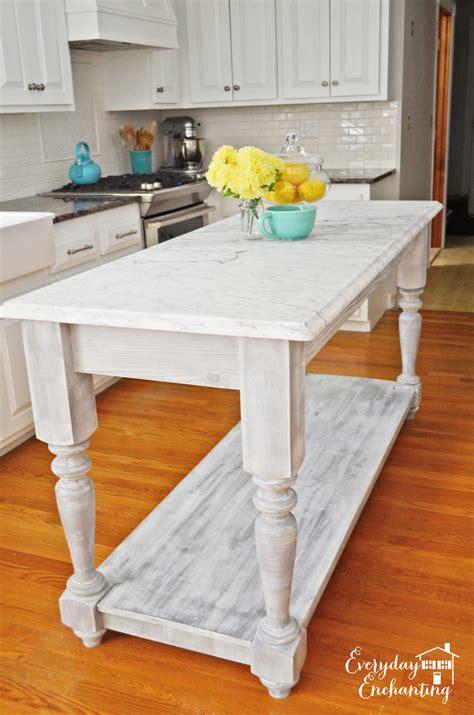 remodelaholic white kitchen overhaul  diy marble island