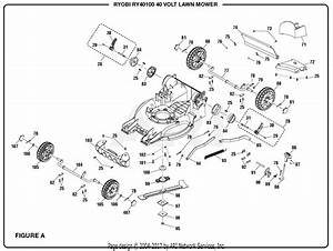 Homelite Ry40100 40 Volt Lawn Mower Parts Diagram For