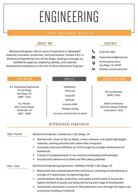 This should always include your name, address, phone number and email. Top 25 Free & Paid Engineering Resume Templates 2020
