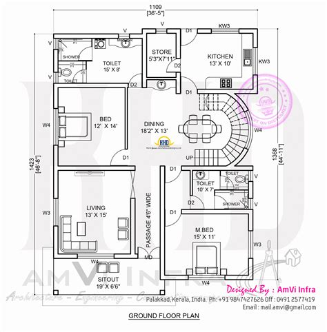 floor plan 5 bedroom contemporary house with plan kerala home