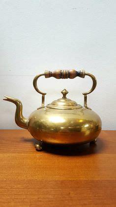 antique english teapot copper brass square kettle victoria regina mark  english