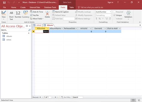 Create Resume Database Access by Access 2016 Create A Table In Design View