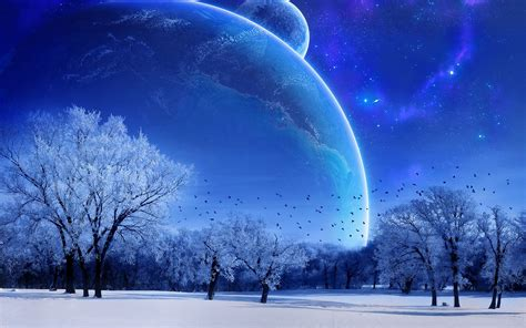 Download Snowy Planet View Landscape Wallpaper 1920x1200