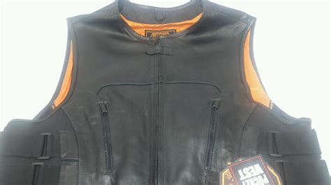 Men's Motorcycle Vest Tactical Swat Style Leather Vest