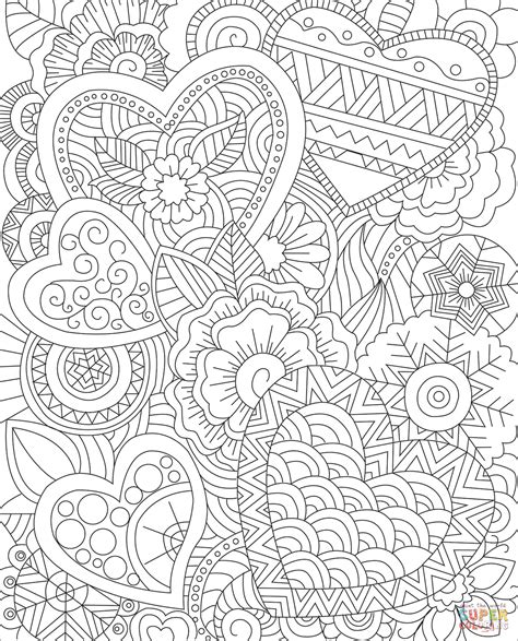 Coloring Zentangle by Hearts Zentangle Coloring Page Free Printable Coloring Pages