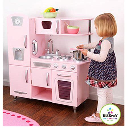 walmart play kitchen kidkraft vintage wooden play kitchen in pink walmart