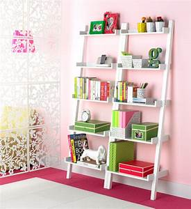 White Linea Ladder Shelf The Container Store