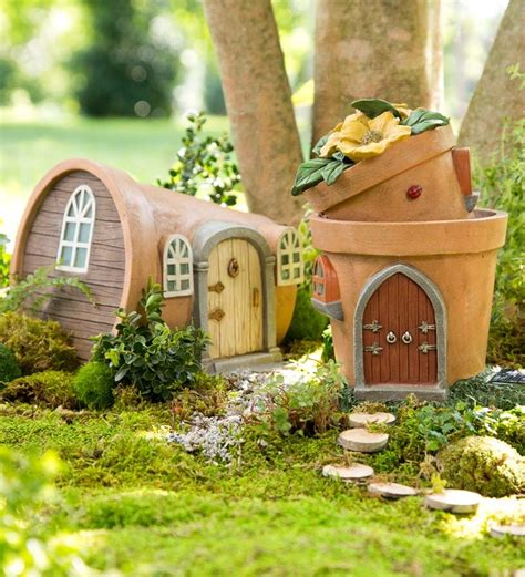miniature garden solar flower pot home garden statuary