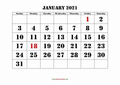Calendar 2021 Printable January Blank Monthly Font