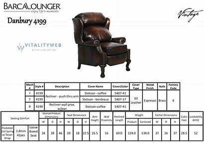 Recliner Chair Barcalounger Dimensions Danbury Leather Fabric