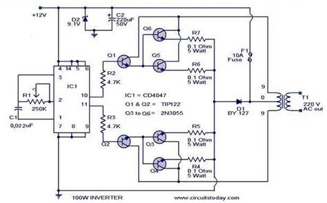 100 watt inverter circuit diagram parts list design tips