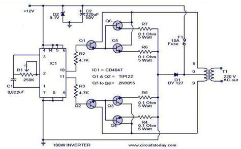 Circuit Diagram Of 600va Inverter by 100 Watt Inverter Circuit Diagram Parts List Design Tips