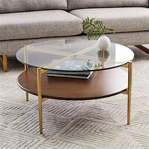mid century art display round coffee table west elm uk With two round coffee tables