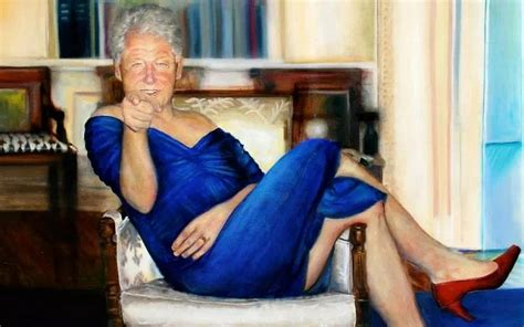 painting  clinton  blue dress hung  jeffrey epstein