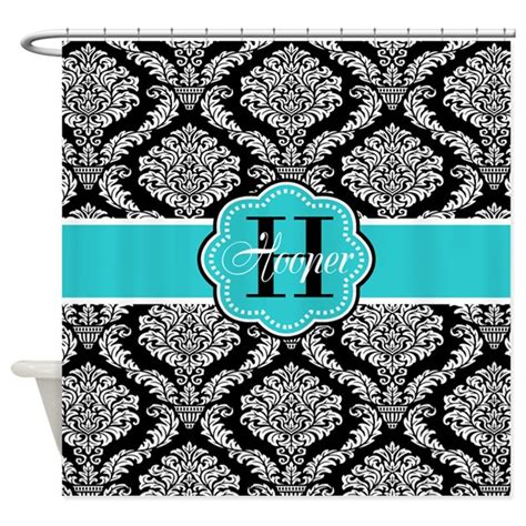 black teal damask personalized shower curtain by
