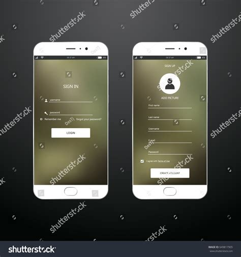 sign up mobile mobile login sign forms ui design stock vector 649817905