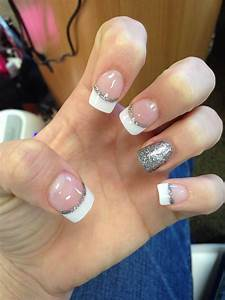 Simple French tip with silver glitter! | Nails | Pinterest