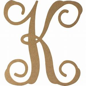 12quot wood letter vine monogram k ab2206 craftoutletcom for Monogram letter k