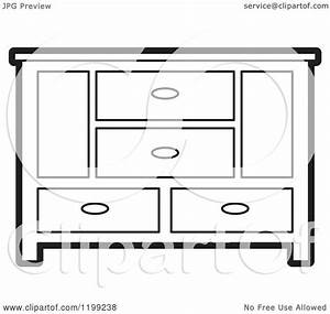 Clipart of a Black and White Sideboard Cabinet 2 - Royalty ...