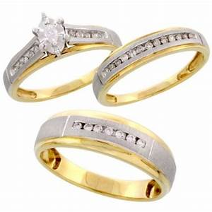 wedding rings sets wedding rings gold his and hers With 3 piece wedding ring sets cheap