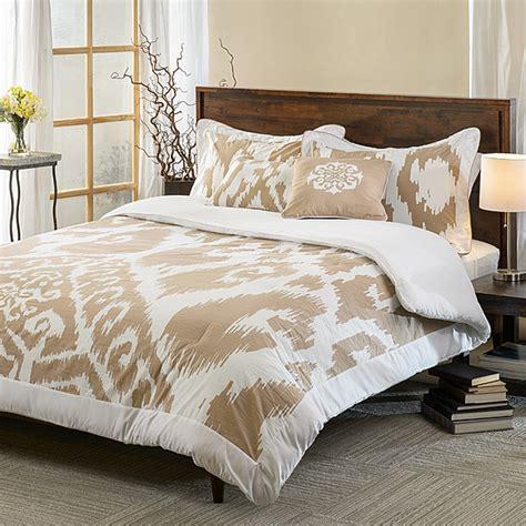 ubezek tan and white cotton reversible 5 piece comforter