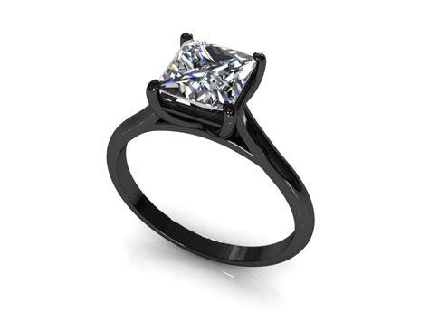 black princess cut diamond engagement ring black gold