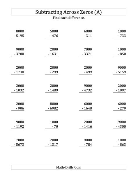 the subtracting across zeros from multiples of 1000 a